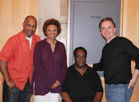 Ruben Santiago-Hudson, Leslie Uggams, Leslie Lee and James Houghton after a preview performance of The First Breeze of Summer at the Peter Norton Space at Signature Theatre Company on August 17, 2008. Photo by Lia Chang
