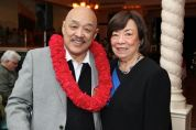 Russell Chang with his cousin Carole Choy at his 70th birthday party on December 15, 2012. Photo by Lia Chang