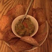 sea urchin guacamole with taro root chips