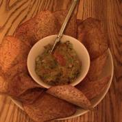 sea urchin guacamole with taro root chips