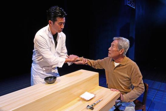 "Ryun Yu, left, and Sab Shimono in ""tokyo fish story."" DEBORA ROBINSON, SOUTH COAST REPERTORY"