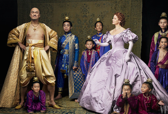The stars of The King and I: Ken Watanabe as King Mongkut of Siam and Kelli O'Hara as Anna Leonowens, surrounded by young actors playing the king's children; photographed in New York City. Photograph by Annie Leibovitz for Vanity Fair