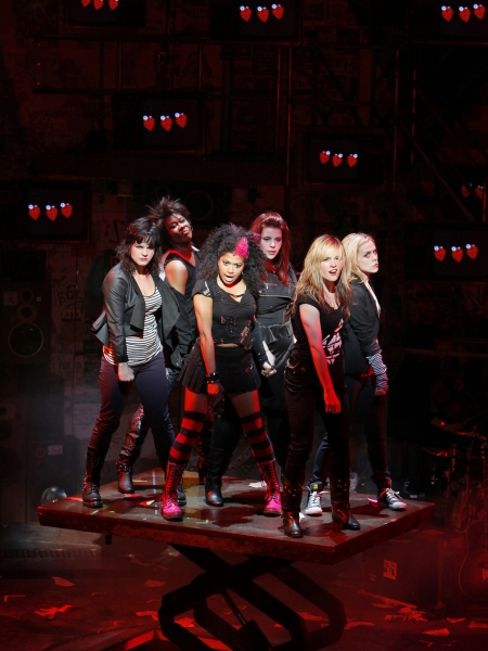 Rebecca Naomi Jones and the company of American Idiot. Photo by Paul Kolnik
