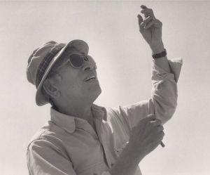 Tyrus Wong on Santa Monica Beach 1987. Image courtesy of the Walt Disney Family Museum and Tyrus Wong