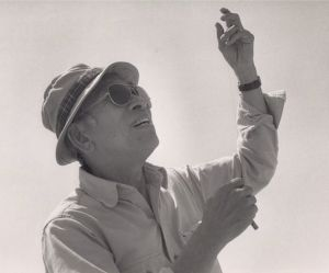 Tyrus Wong on Santa Monica Beach 1987. Image courtesy of the Walt Disney Family Museum and Tyrus Wong