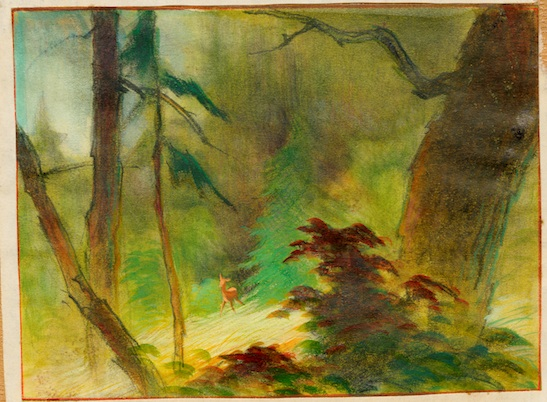 Tyrus Wong, Bambi (visual development), 1942; watercolor on paper; 10 x 11.5 in. Courtesy of Tyrus Wong Family. ©Disney.