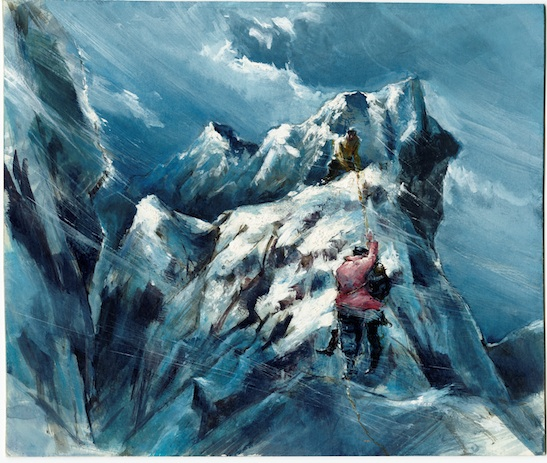 Tyrus Wong, Edge of Gorge, 1958; preproduction illustration for The Ice Palace, Warner Bros., 1960; 8.5 x 10 in.; Courtesy of Tyrus Wong Family