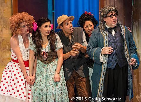 Will Bradley (Cherubin), Natalie De Luna (Fanchette), Joshua Wolf Coleman (Antonio), Jeanne Sakata (Marceline), and Alan Blumenfeld (Dr. Bartholo). © Photo by Craig Schwartz 2015