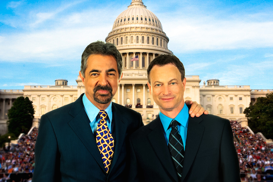 Co-hosts Joe Mantegna and Gary Sinise pose outside of the Capitol before the National Memorial Day Concert in 2009. Photo courtesy of PBS