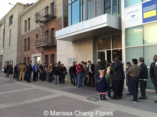 The line stretched down the block for the sold out screening of Big Trouble in Little China at JANM's Tateuchi Democracy Forum in LA on April 8, 2015. Photo by Lia Chang