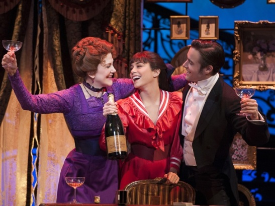 Victoria Clark as Mamita, Vanessa Hudgens as Gigi & Corey Cott as Gaston Lachaille in Gigi. Photo by Joan Marcus