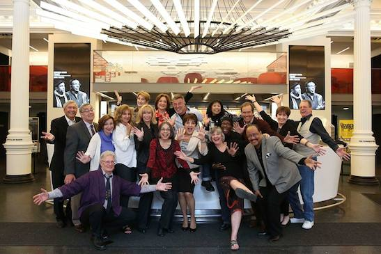 Original cast members of A Chorus Line reunited at The Public Theater on April 16, 2015, for a tribute to the 40th anniversary by the cast of Hamilton and The Public Theater. Photo by Tammy Shell
