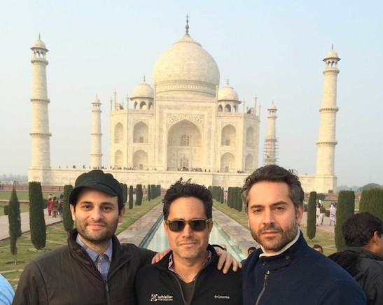 Arian Moayed, Rajiv Joseph and Omar Metwally at the Taj Mahal in Agra, India earlier this year.
