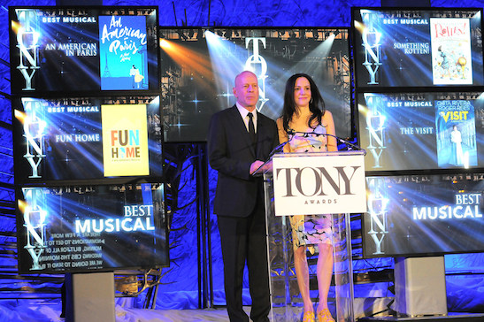 Bruce Willis (l.) and Mary-Louise Parker (r.) host the 2015 Tony Awards Nominations Announcement sponsored by IBM at the Paramount Hotel in New York on April 28, 2015. Credit: Anita and Steve Shevett