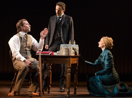 Bradley Cooper as John Merrick, Alessandro Nivola as Dr. Fredrik Treves & Patricia Clarkson as Mrs. Kendal in The Elephant Man. Photo by Joan Marcus