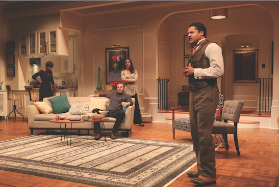 Brandon J. Dirden (Zeke), far right, with from left: Roslyn Ruff (Janeece), Andrew Hovelson (Randall) and Merritt Janson (Judith) in the world premiere of Your Blues Ain't Sweet Like Mine at Two River Theater. Photo by Michal Daniel