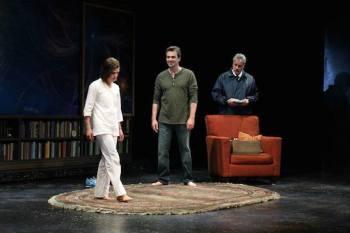Emily James, Jon Tenney and John de Lancie in Mr. Wolf by Rajiv Joseph. Photo by Debora Robinson/SCR.