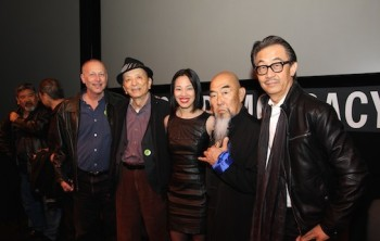 Big Trouble in China screenwriter Gary Goldman, with actors James Hong, Lia Chang, Gerald Okamura, George Cheung at JANM's Tateuchi Democracy Forum in LA on April 8, 2015. Photo by Tami Chang