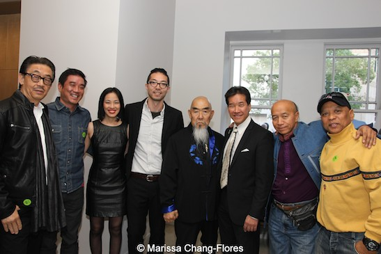 George Cheung, Milton Liu, Lia Chang, Oliver Ike, Gerald Okamura, Peter Kwong, Eric Lee and Ewart Chin at JANM's Tateuchi Democracy Forum in LA on April 8, 2015. Photo by Marissa Chang-Flores.