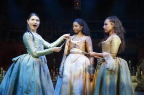 Phillipa Soo, Renée Elise Goldsberry and Jasmine Cephas Jones in Hamilton. Photo by Joan Marcus