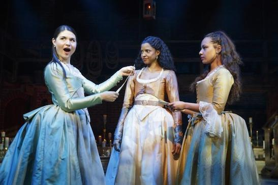 The Schuyler sisters work it in Paul Tazewell's costumes: Phillipa Soo, Renée Elise Goldsberry and Jasmine Cephas Jones, who plays their sib and Hamilton's mistress. Photo by Joan Marcus