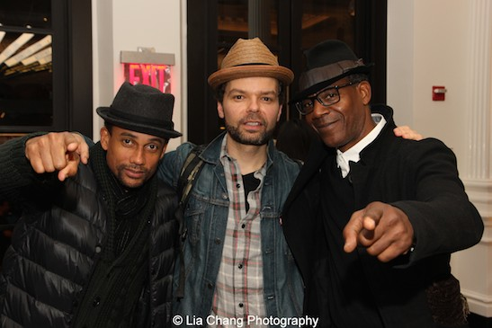 Hill Harper, Lemon Andersen and John Earl Jelks in the lobby of The Public Theater in New York on April 13, 2015. Photo by Lia Chang