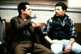 HOMICIDE, Joe Mantegna, director David Mamet on set, 1991, (c)Triumph
