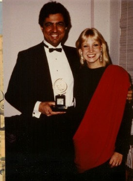 Joe Mantegna and his wife Arlene with his 1984 Tony Award for Best Featured Actor in a Play for his performance as Richard Roma in Glengarry Glen Ross on June 3, 1984. Photo courtesy of Joe Mantegna Website