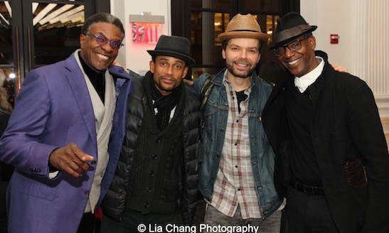 Keith David, Hill Harper, playwright Lemon Andersen, John Earl Jelks in the lobby of The Public Theater in New York on April 13, 2015. Photo by Lia Chang