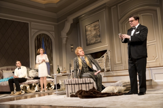Micah Stock, Megan Mullally, Rupert Grint, and Nathan Lane in It's Only a Play. (© Joan Marcus)