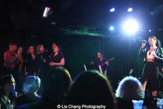 Michael Buchanan, Garth Kravits, Julie James, Erin Davie, Scott Alan, Colleen Harris, Laura Benanti. Photo by Lia Chang