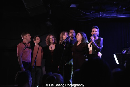 Michael Buchanan, Garth Kravits, Julie James, Erin Davie, Scott Alan, Colleen Harris, Laura Benanti. Photo by Lia Chang