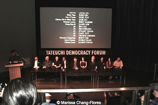 Milton Liu,Director of Programs and Artist Services, Visual Communications, with Big Trouble in Little China's Peter Kwong, Gary Goldman, James Lew, George Cheung, James Hong, Lia Chang, Gerald Okamura, Jeff Imada, Joycelyne Lew, Al Leong at JANM's Tateuchi Democracy Forum in LA on April 8, 2015. Photo by Marissa Chang-Flores