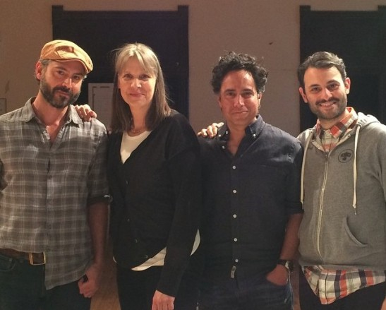 Omar Metwally, director Amy Morton, playwright Rajiv Joseph and Arian Moayed in rehearsal for Atlantic Theatre Company's production of GUARDS AT THE TAJ. Photo courtesy of Rajiv Joseph
