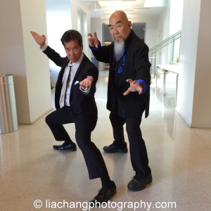 Big Trouble in Little China cast members Peter Kwong and Gerald Okamura strike a stance at JANM's Tateuchi Democracy Forum in LA on April 8, 2015. Photo by Lia Chang