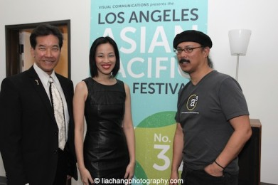 Peter Kwong, Lia Chang and Abraham Ferrer, Exhibitions Director at Visual Communications at the VC offices in LA on April 8, 2015.
