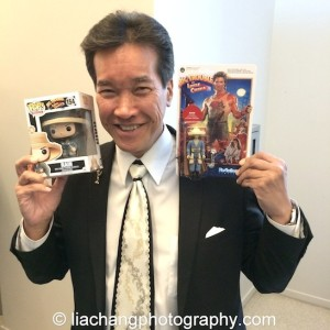 Peter Kwong displays his 'Rain' action figures at JANM's Tateuchi Democracy Forum in LA on April 8, 2015. Photo by Lia Chang