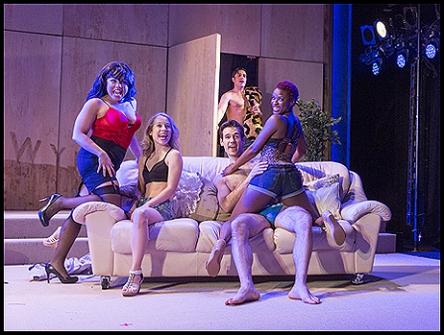 Maria-Christina Oliveras, Alyse Alan Louis, Jared Zirelli (background), John Behlmann, Lulu Fall in Pretty Filthy. Photo by Richard Termine
