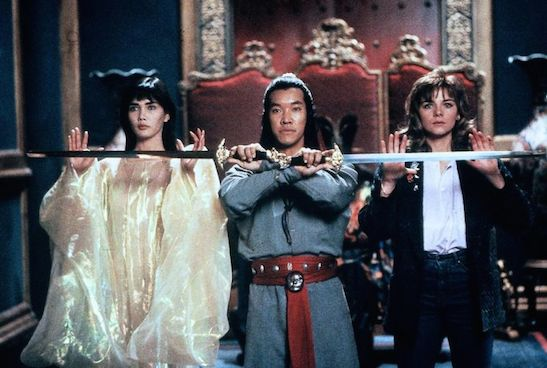 Peter Kwong, Suzee Pai and Kim Cattrall in Big Trouble in Little China. (c) Twentieth Century Fox