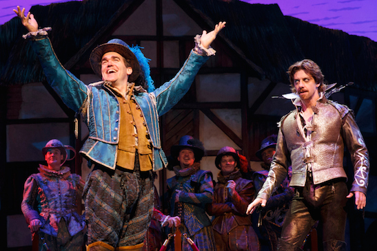 "Christian Borle (right) plays Shakespeare as rock star opposite Brian d'Arcy James' rival playwright in ""Something Rotten!"" Photo: Joan Marcus"