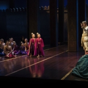 OLIVIA CHUN, LYNN MASAKO CHENG, Ken Watanabe, Kelli O'Hara (back to camera) and company. Photo by Paul Kolnik
