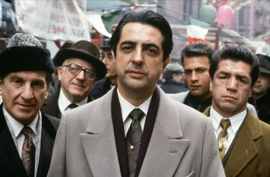 Joe Mantegna as Joey Zasa and the wiseguys in The Godfather Part III. © 1990 - Paramount Pictures