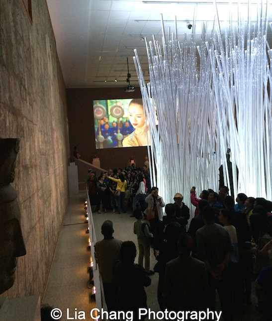 In a celebration of the wuxia, or Chinese martial hero, Costume Institute curator Andrew Bolton created a bamboo forest out of glass, replicating a scene in Zhang Yimou's 2004 film, The House of Flying Daggers. The movie is projected on the back wall, the perfect backdrop to the striking installation, where mannequins wearing martial-arts-inspired clothing by Craig Green and Jean Paul Gaultier, are hidden between the branches. Photo by Lia Chang