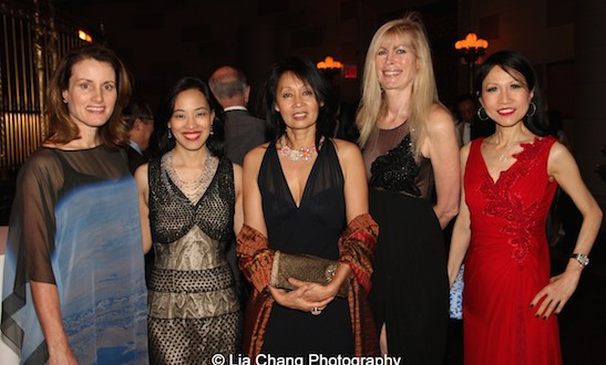 Karen Chiao, Lia Chang, Beatrice Pei, Brenda Dallas-Griffin Lirola and Chiu-Ti Jansen attend the China Institute's Blue Cloud Gala at Gotham Hall in New York on May 29, 2015. Photo by Dr. Leroy Chiao