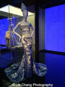 Gallery view, Chinese Galleries, Frances Young Tang Gallery, Blue and White Porcelain. Evening dress, Roberto Cavalli (Italian, born 1940), autumn/winter 2005–6; Courtesy of Roberto Cavalli. Photo by Lia Chang
