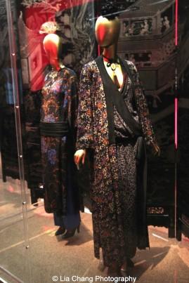 Yves Saint Laurent (French, 1936–2008), Ensemble, autumn/winter 1977–78 haute couture, Polychrome printed black silk damask, Courtesy of Fondation Pierre Bergé - Yves Saint Laurent, Paris. Photo by Lia Chang