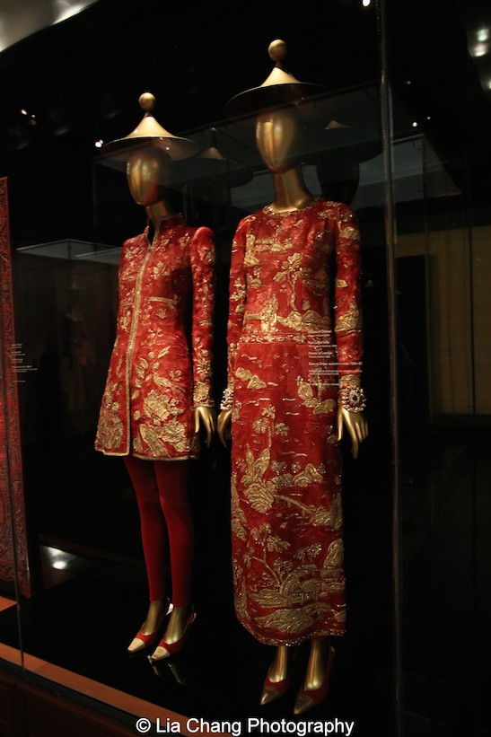 Gallery View Chinese Galleries, Douglas Dillon Galleries, Chinoiserie- House of Chanel (French, founded 1913), Karl Lagerfeld (French, born Hamburg, 1938), House of Lesage (French, founded 1922), Dress, autumn/winter 1996–97 Red silk organza embroidered with red, gold, and silver plastic sequins, and gold beads, Courtesy of Hamish Bowles; Evening dress, autumn/winter 1996–97 haute couture Red silk organza embroidered with red, gold, and silver plastic sequins, and gold beads Courtesy of Collection CHANEL, Paris. Photo by Lia Chang