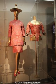 Gallery View Chinese Galleries, Douglas Dillon Galleries, Chinoiserie- Christian Dior (French, 1905–1957) Ensemble, autumn/winter 1955–56 Pink, green, and cream silk jacquard, Courtesy of Museé Christian Dior, Granville; Probably French Bodice, 1775–85, Pink silk faille brocaded with white and pink silk thread, Purchase, Irene Lewisohn Bequest, 1978 (1978.298.1). Photo by Lia Chang