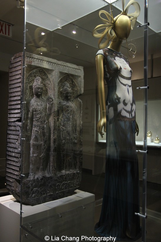 "Vivienne Tam's ""Kuan Yin"" dress from 1997 of Polychrome printed nylon mesh."