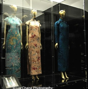 Qipaos worn by Oei Hui- Ian, the third wife of the Chinese diplomat and politician Vi Kuiyuin Wellington Koo, and Soong Mei-ling, the wife of Chiang Kai-shek, a military and political leader and eventual president of the Republic of China. Photo by Lia Chang